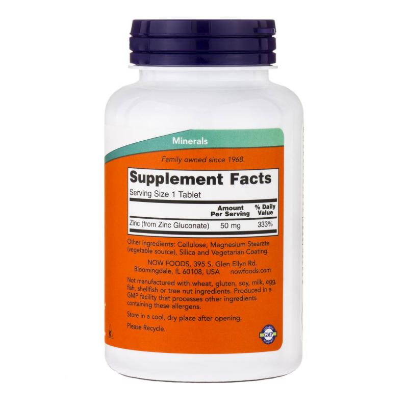 Now Foods Zinc 50 mg 250 tab - фото 1