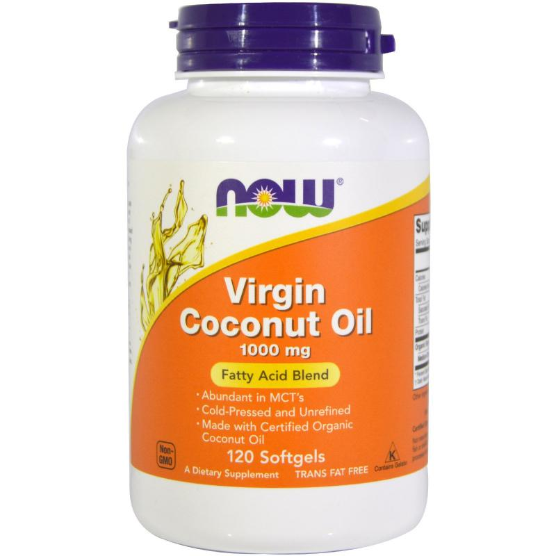 Now Foods Virgin Coconut Oil 1000 mg 120 softgels - фото 1