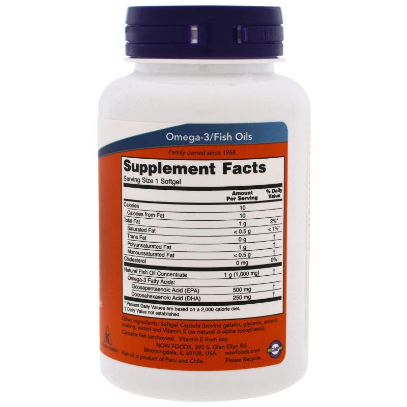 Now Foods Ultra Omega-3 500 EPA/ 250 DHA 90 softgels - фото 1