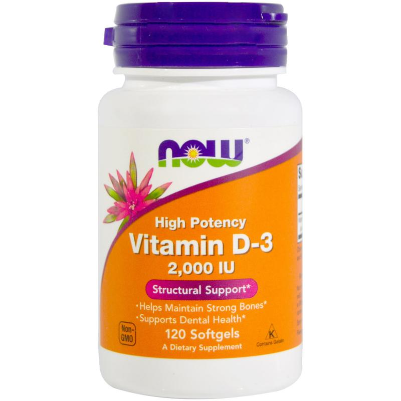 Now Foods Vitamin D-3 2.000 IU 120 soft - фото 1