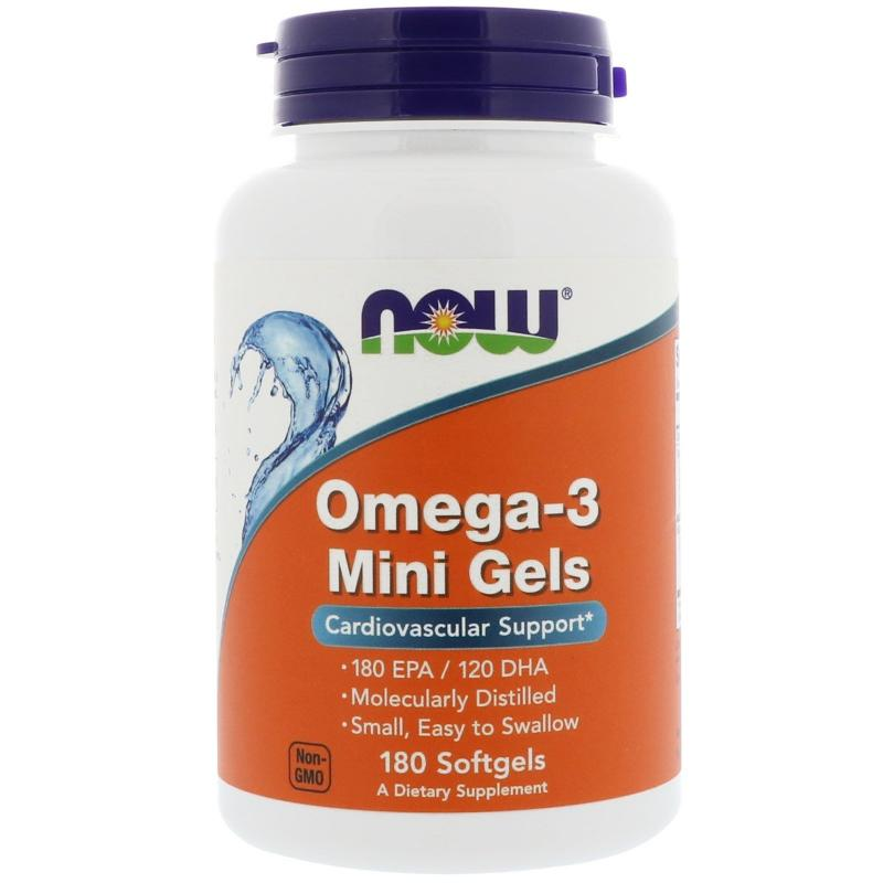 Now Foods Omega-3 Mini Gels 180 EPA / 120 DHA 180 Softgels - фото 1