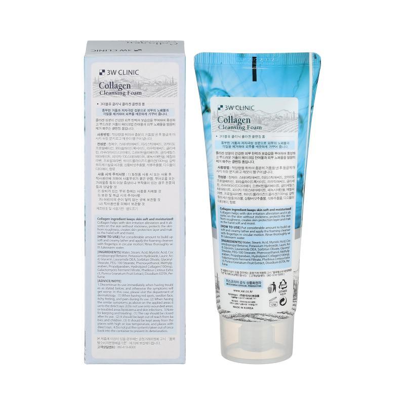 3W Clinic Пенка для умывания с коллагеном Foam Cleansing Collagen 100 мл - фото 1