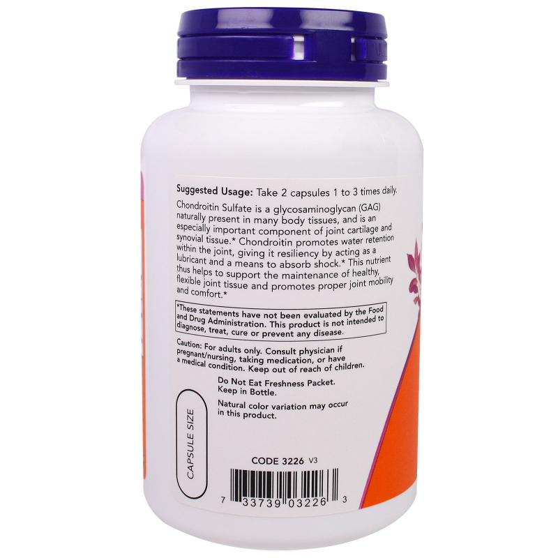 Now Foods Chondroitin Sulfate 600 mg 120 caps - фото 1