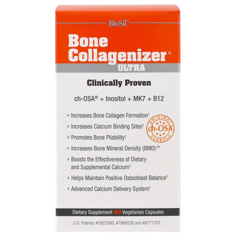 BioSil by Natural Factors Bone Collagenizer Ultra 40 Vegetarian Capsules - фото 1