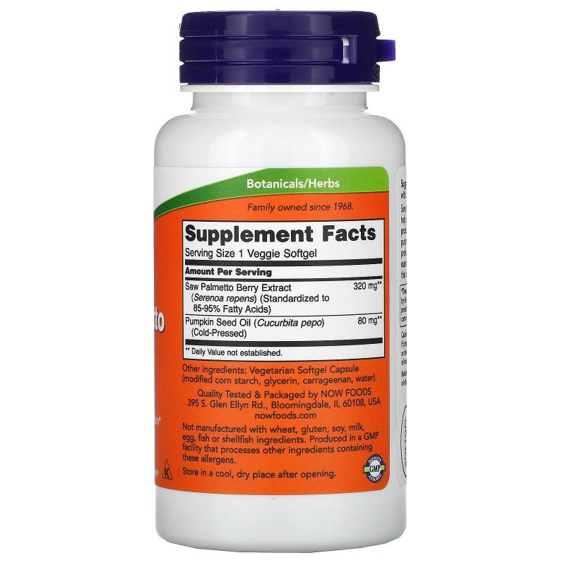 Now Foods Saw Palmetto Extract 320 mg 90 softgels - фото 1