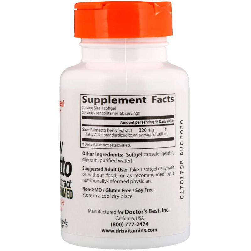 Doctor's Best Saw Palmetto 320 mg 60 softgels - фото 1