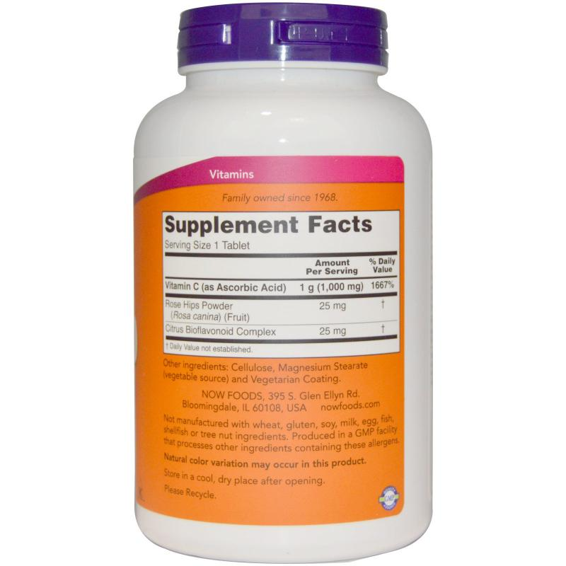 Now Foods C-1000 with Rose Hips & Bioflavonoids 250 tabs - фото 1