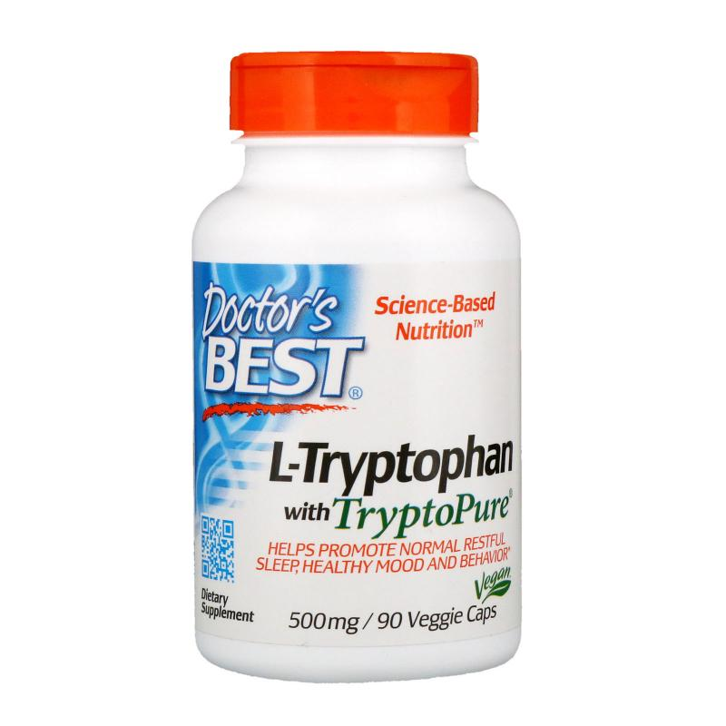 Doctor's Best L-Tryptophan with TryptoPure 500 mg 90 vcaps - фото 1