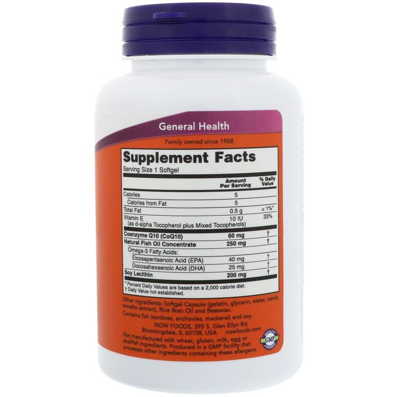 Now Foods CoQ 10 60 mg with Omega Fish Oil 120 softgels - фото 1