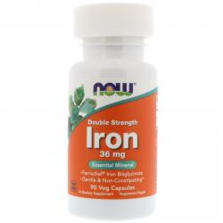 Now Foods Iron 36 mg 90 vcaps