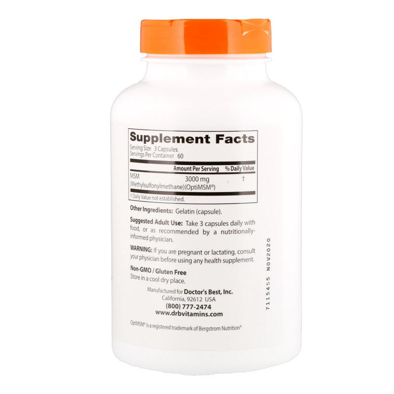 Doctor's Best MSM with OptiMSM 1000 mg 180 caps - фото 1