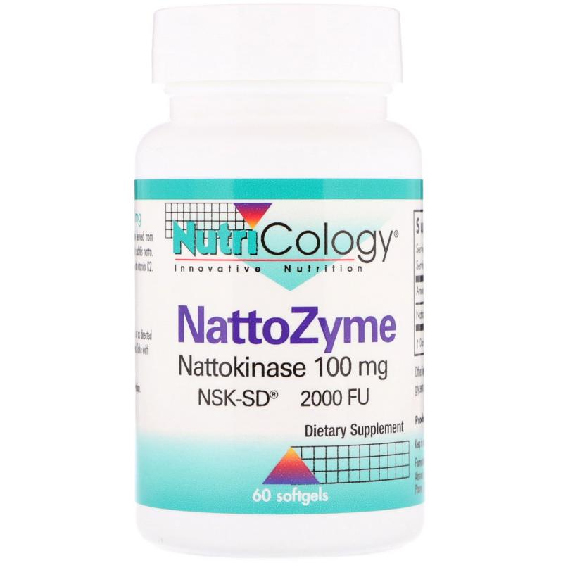 Nutricology NattoZyme Nattokinase 100 mg 2000 FU 60 softgels - фото 1