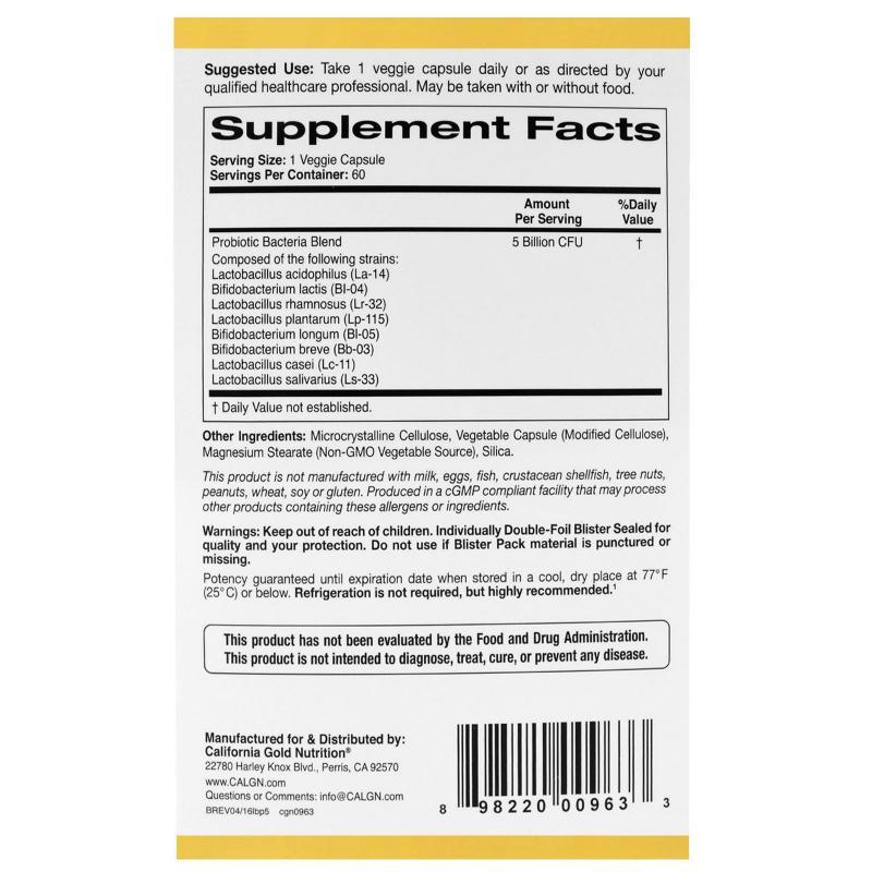 California Gold Nutrition LactoBif Probiotics 5 Billion CFU 60 vcaps - фото 1