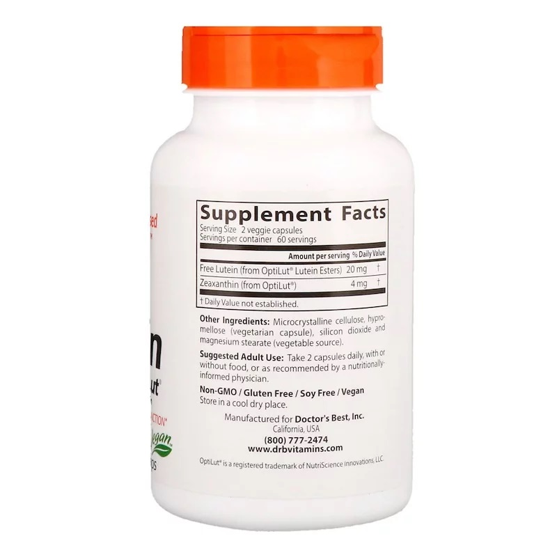 Doctor's Best Lutein with OptiLut 10 mg120 vcaps - фото 1