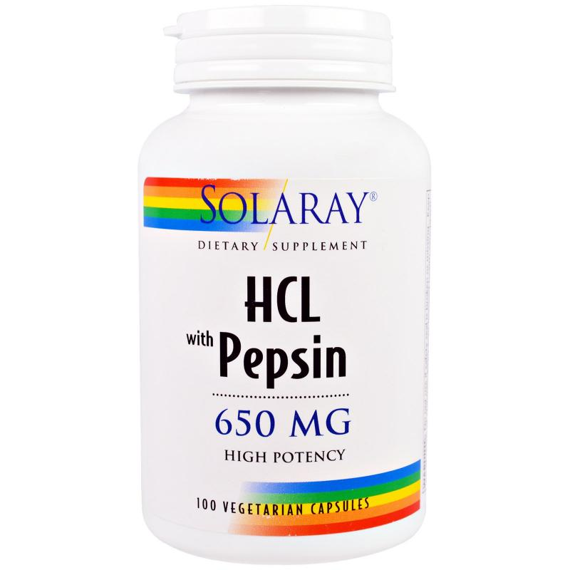 Solaray HCL with Pepsin 650 mg 100 capsules - фото 1