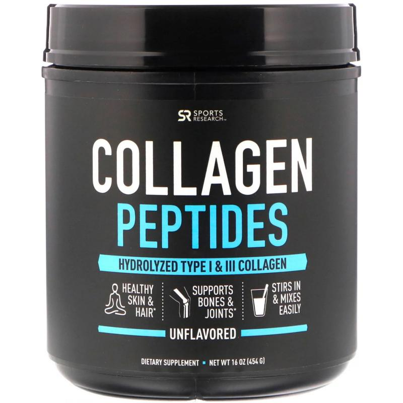 Sports Research Collagen Peptides Hydrolyzed Type 1 & 3 Без Добавок 454 грамма - фото 1
