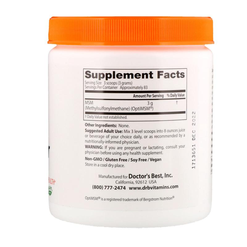 Doctor's Best MSM Powder with OptiMSM 250 g - фото 1