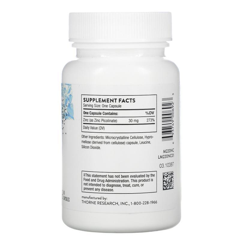 Thorne Research Zinc Picolinate 30 mg 60 capsules - фото 1