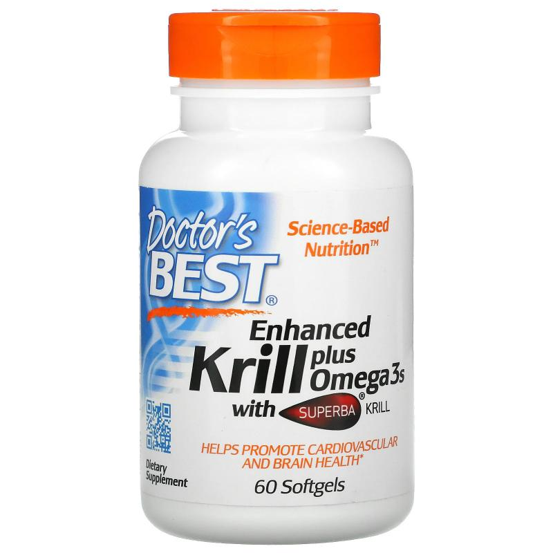 Doctor's Best Krill Enhanced plus omega3s with superba krill 60 softgels - фото 1