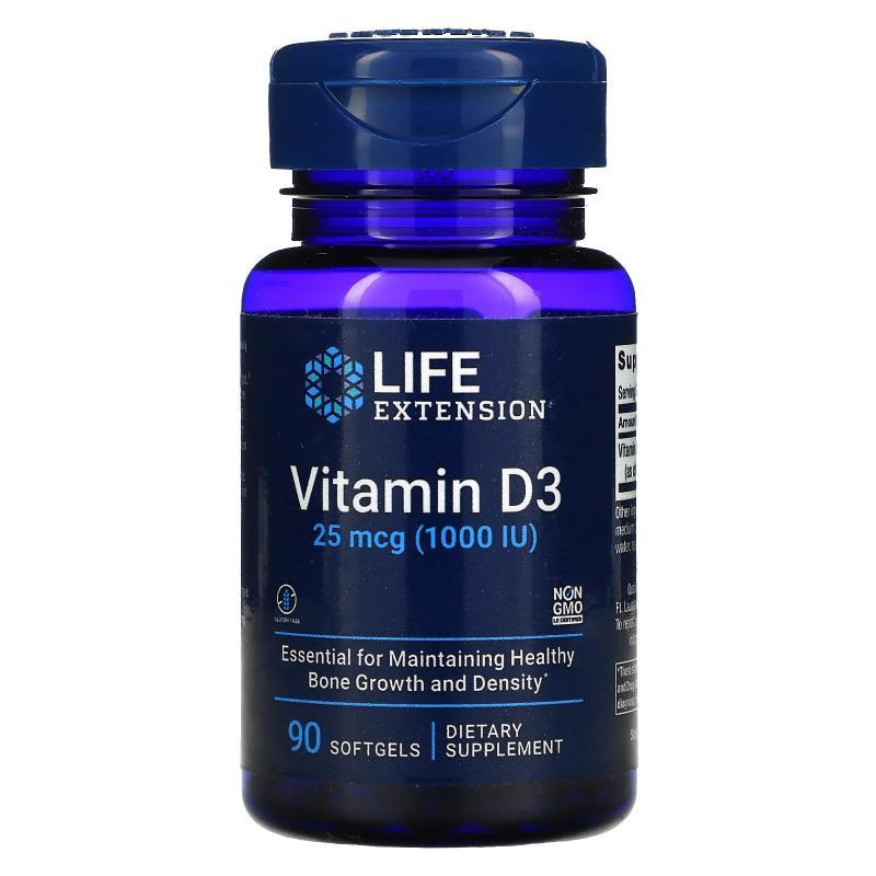 Life Extension Vitamin D3 25 mcg (1.000 IU) 90 Softgels - фото 1