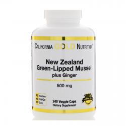 Новозеландский зеленогубый моллюск с имбирем 500 мг 240 капсул California Gold Nutrition