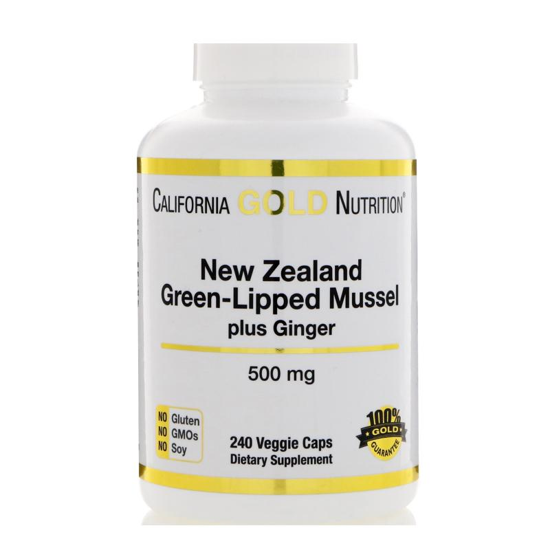 California Gold Nutrition New Zealand Green-Lipped Mussel plus Ginger 500 mg 240 vcaps - фото 1