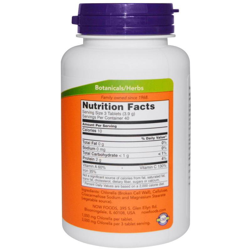 Now Foods Chlorella 1000 mg 120 tablets - фото 1