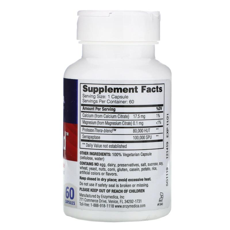 Enzymedica SerraGold High Potency Serrapeptase 60 capsules - фото 1