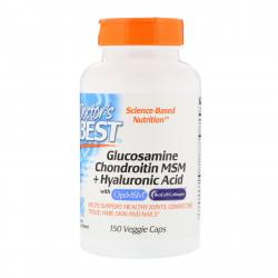 Doctor's Best Glucosamine Chondroitin MSM + Hyaluronic Acid 150 Veggie Caps