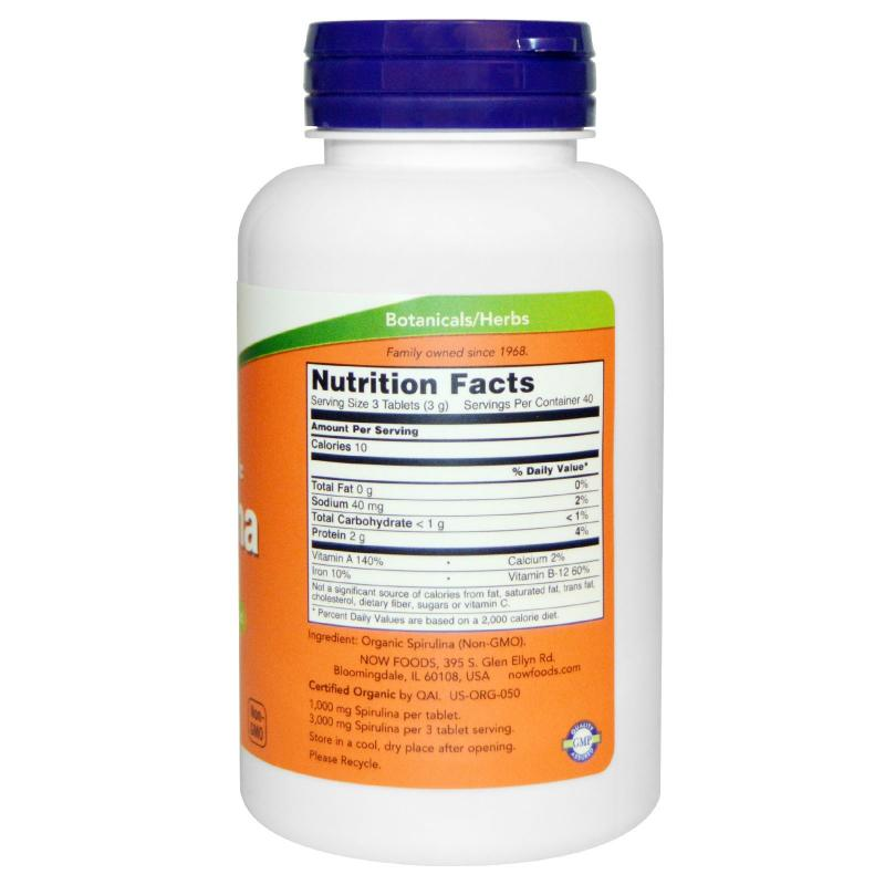 Now Foods Spirulina 1000 mg 120 tablets - фото 1