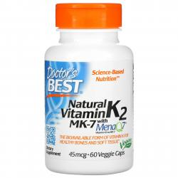 Doctor's Best Natural Vitamin K-2 MK-7 with mena Q7 45 mcg 60 Veggie caps
