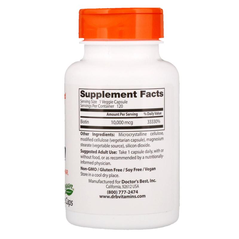 Doctor's Best Biotin 10,000 mcg 120 caps - фото 1