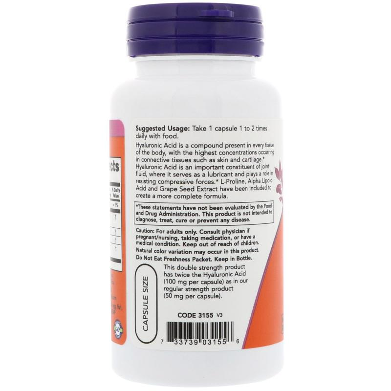 Now Foods Hyaluronic Acid 100 mg with Alpha Lipoic Acid 60 vcaps - фото 1