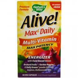 Nature's Way Alive Max6 Daily Multi-Vitamin 90 veg capsules