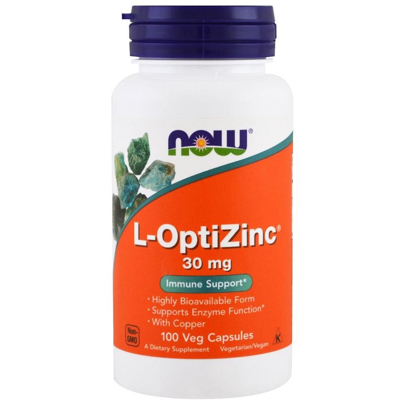 Now Foods L-OptiZinc 30 mg 100 vcaps - фото 1