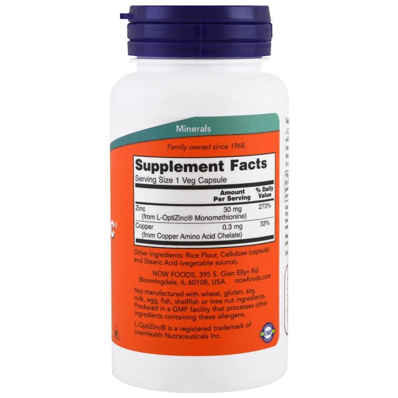 Now Foods L-OptiZinc 30 mg 100 vcaps - фото 1