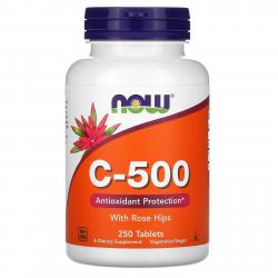 Now Foods C-500 with Rose Hips 250 tablets