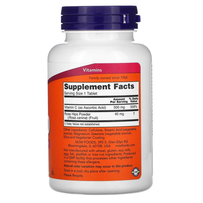 Now Foods C-500 with Rose Hips 250 tablets - фото 1