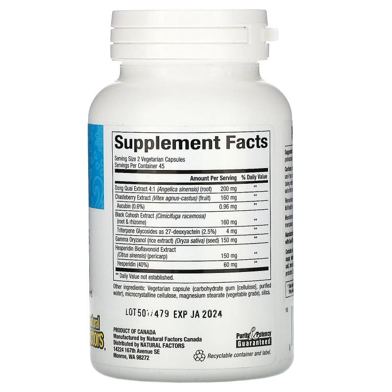 Natural Factors WomenSense MenoSense menopause formula 90 - фото 1