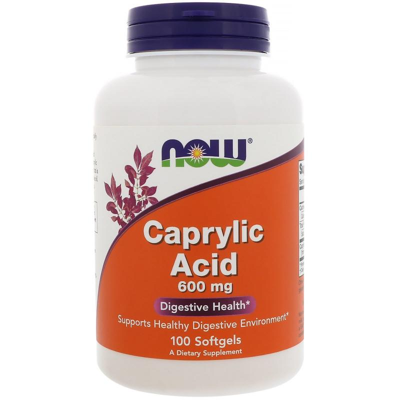 Now Foods Caprylic Acid 600 mg 100 Softgels - фото 1
