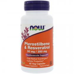 Now Pterostilbene & Resveratrol 50 mg/ 250 mg 60 vcaps