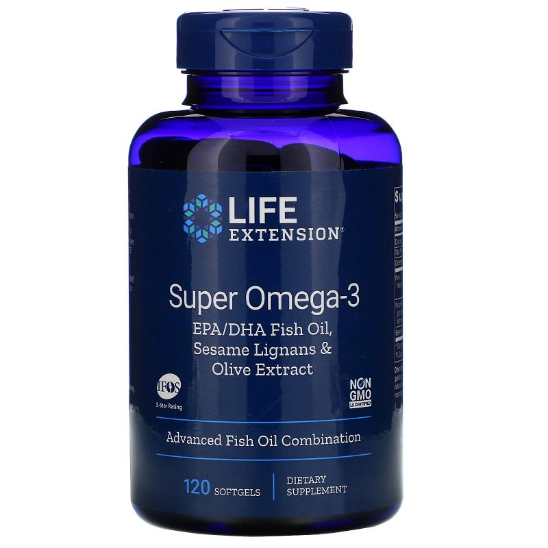Life Extension Super Omega-3 EPA/DHA Fish Oil Sesame Lignans and Olive Extract 120 Softgels - фото 1
