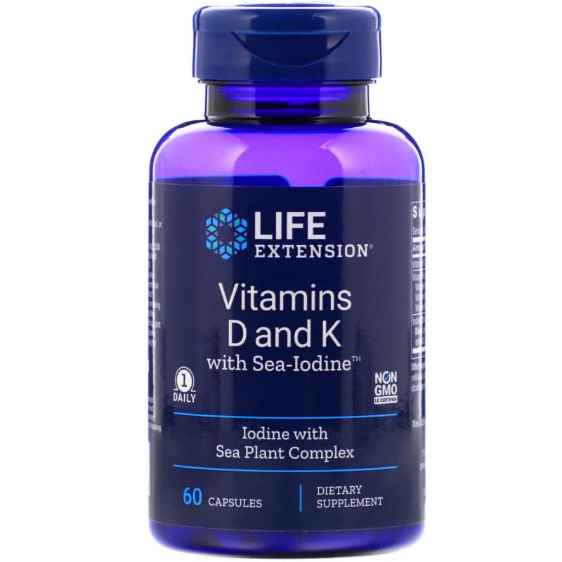 Life Extension Vitamins D and K with Sea-iodine 60 capsules - фото 1