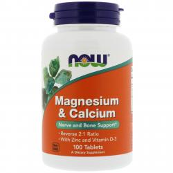 Now Foods Magnesium & Calcium with Zinc and D-3 100 Tablets