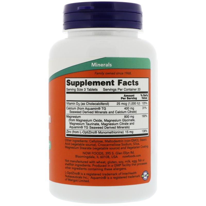 Now Foods Magnesium & Calcium with Zinc and D-3 100 Tablets - фото 1