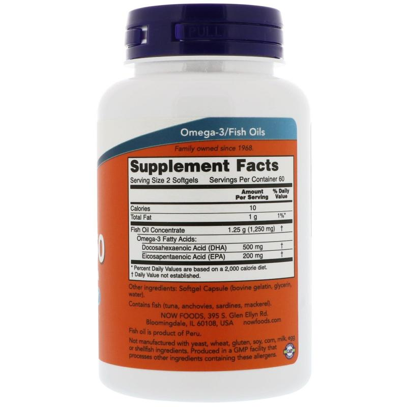 Now Foods DHA-250 120 softgels - фото 1