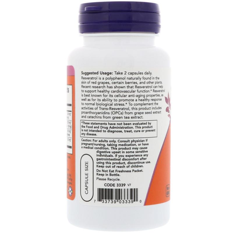 Now Foods Natural Resveratrol 60 vcaps - фото 1