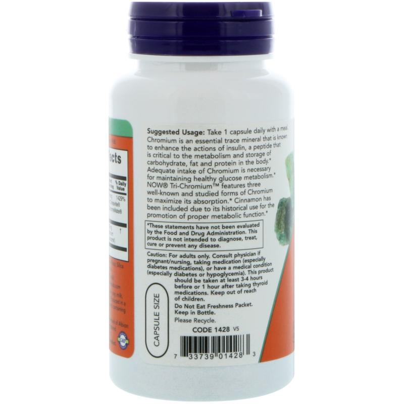 Now Foods Tri-Chromium 500 mcg 90 vcaps - фото 1