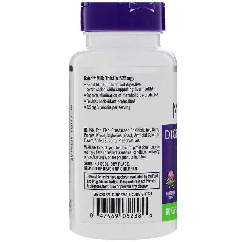 Natrol Milk Thistle 525 mg 60 Capsules - фото 1