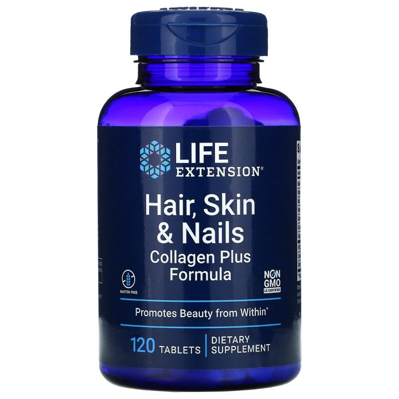 Life Extension Hair Skin and Nails Collagen plus formula 120 tablets - фото 1